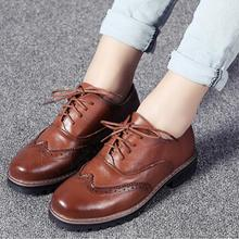Spring/Autumn Vintage Women Brogue Shoes British style Oxfords Genuine Leather Breathable Round Toe Casual Flats 1/3