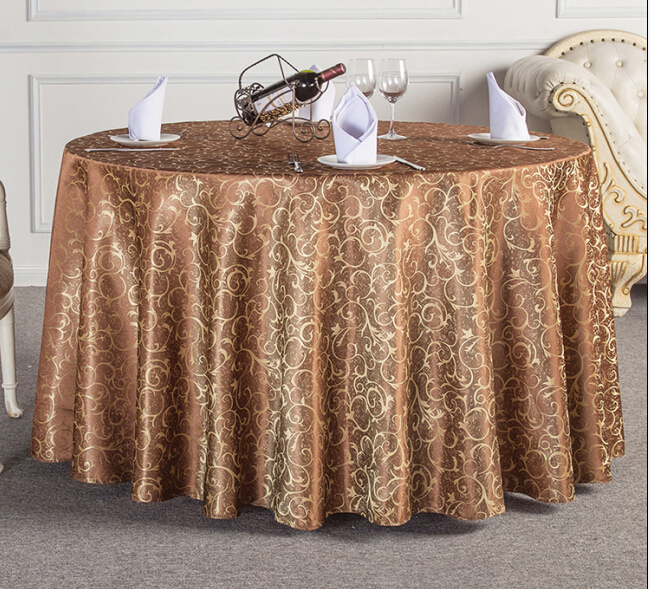 hotsale European style quality jacquard polyester hotel round table cloth table cover for weddings parties hotels restaurant