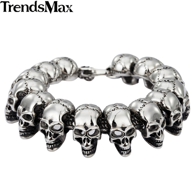 Trendsmax Punk Gothic Biker Skulls Link 316L Stainless Steel Bracelet Mens Chain Boys Wholesale Jewelry HB136