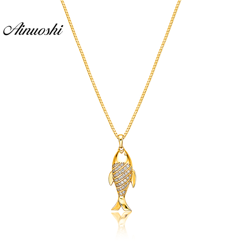 AINUOSHI 10K Solid Yellow Gold Pendant Shining Fish Pendant SONA Simulated Diamond Women Men Child Jewelry 2g Separate PendantAINUOSHI 10K Solid Yellow Gold Pendant Shining Fish Pendant SONA Simulated Diamond Women Men Child Jewelry 2g Separate Pendant