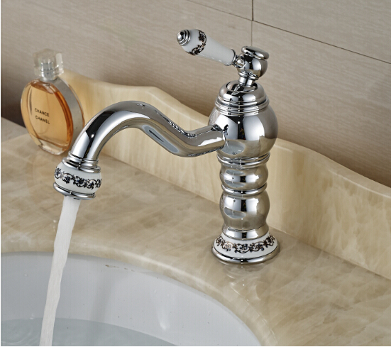 ФОТО fashion brass material chrome bathroom single lever hot and cold sink faucet,basin tap mixer with ceramic decoration