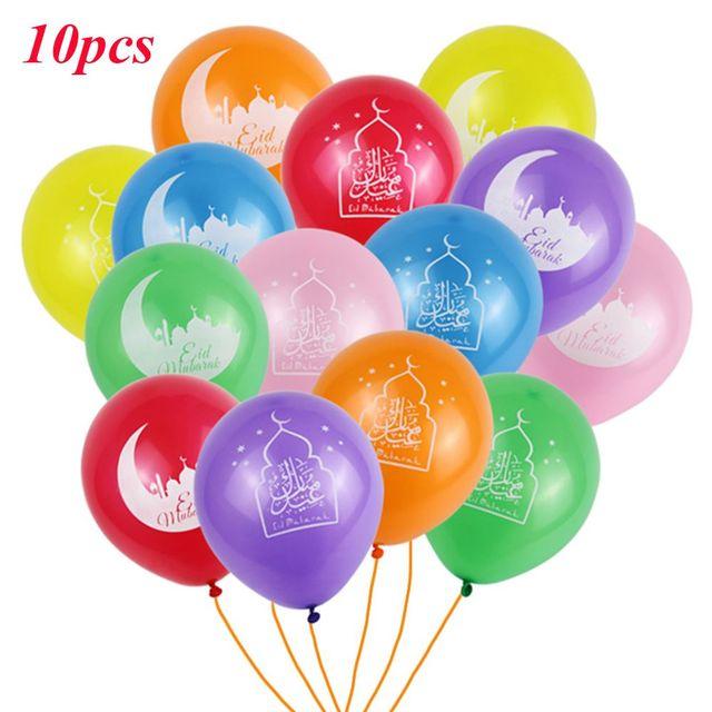 10 adet Eid Mubarak balonlar ramazan malzemeleri balonlar İslam yeni yıl dekor ramazan Kareem müslüman festivali dekorasyon balonu
