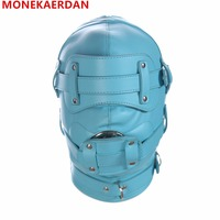 Bdsm Sex Leather Hood Mask Headgear Mouth Plug Bondage Slave Restraints In Adult Games Fetish Sex