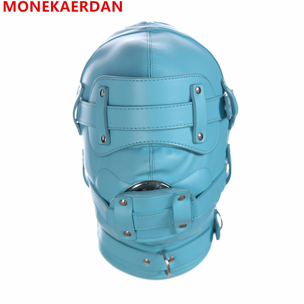 Bdsm Sex Leather Hood Mask Headgear Mouth Plug Bondage Slave Restraints In Adult Games , Fetish Sex Toys For Women And Men Gay adult games cosplay horse headgear leather bondage bdsm fetish slave blindfold mask cap head restraints hood sex toys products