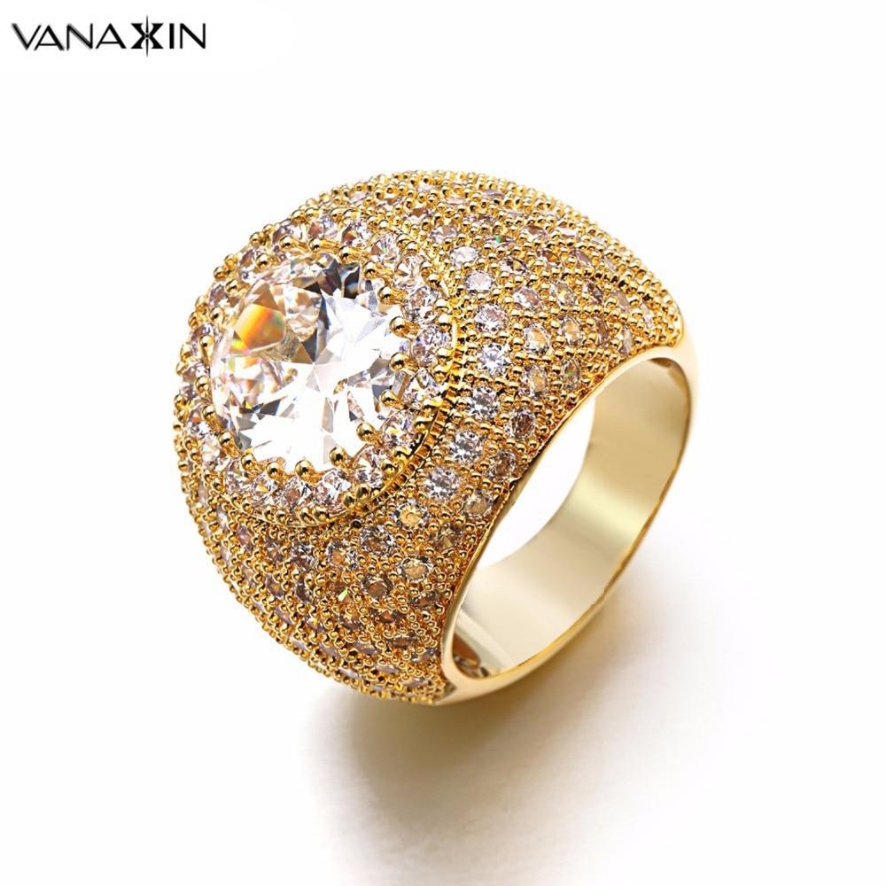 VANAXIN Wide Ring Big Black White CZ Bling Bling Top Quality Copper Rings  Men Engagement Women e93ee1459ceb