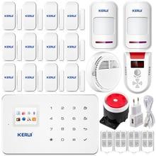 KERUI G18 home office Gsm sms système D'alarme + 12 capteur de Porte fumée GPL détecteur de Sécurité À La Maison IOS Android App DHL/EMS libèrent gratuite