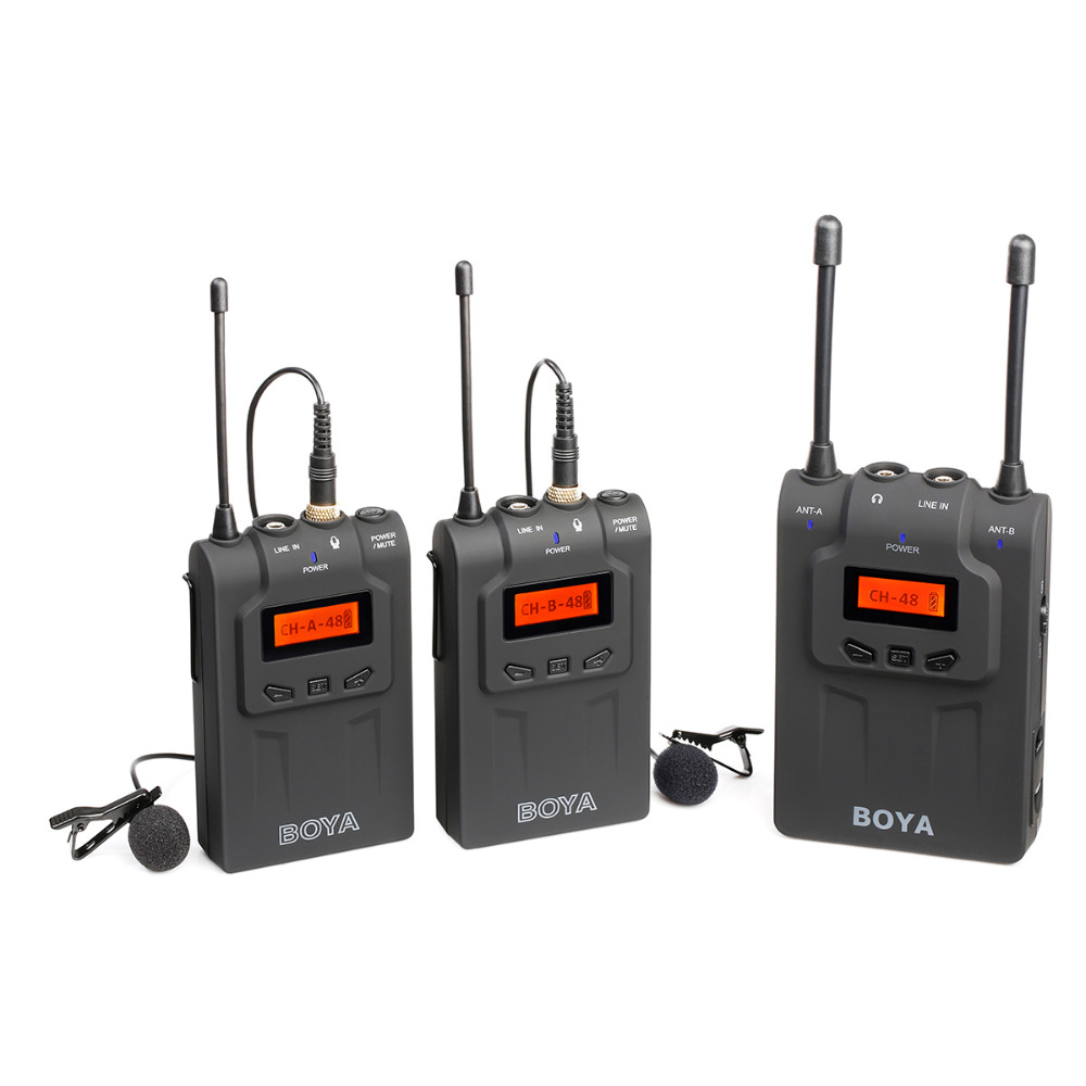 BOYA BY-WM8 UHF Wireless Microphone System Omni-directional Lavalier Microphones For DSLR Video Camera Mic boya by wm6 uhf omni directional lavalier microphone ultra high frequency 48 channel for canon dslr for sony camera camcorders