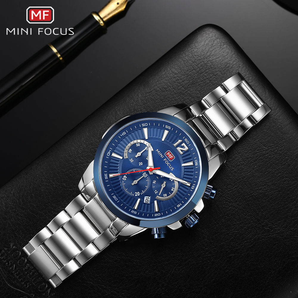 MINI FOCUS Fashion Dress Watch Men Quartz Clock Waterproof Chronograph Stainless Steel Strap Top Brand Luxury Relogio MasculinoMINI FOCUS Fashion Dress Watch Men Quartz Clock Waterproof Chronograph Stainless Steel Strap Top Brand Luxury Relogio Masculino