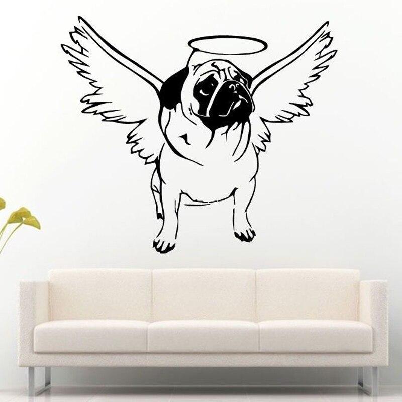 Pug Dog Halo Angel Wings Cute Puppy Wall Stickers For Nursery Kids