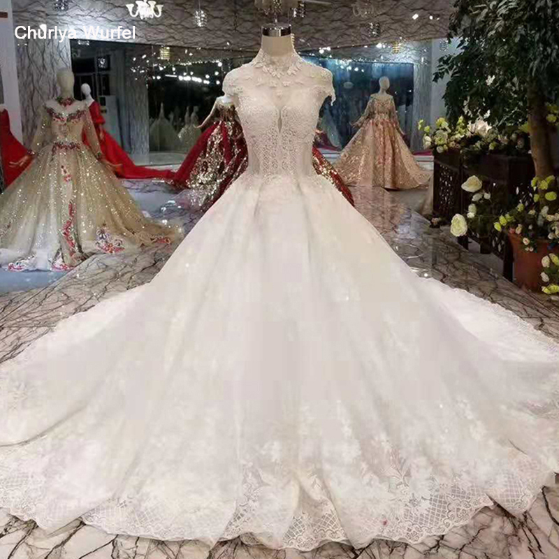 LSS405 Elegant Wedding Dresses Ball Gown High Neck Cap Sleeves Heart-shape Open Back Wedding Gown With Train From Real Factory