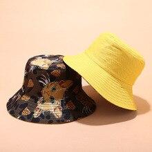 Women Bucket Cap Concise Casual Cartoon Pattern Cute Travel Folding Double Wear Sunscreen Bucket Hat stylish multicolor stripe pattern bucket hat for women