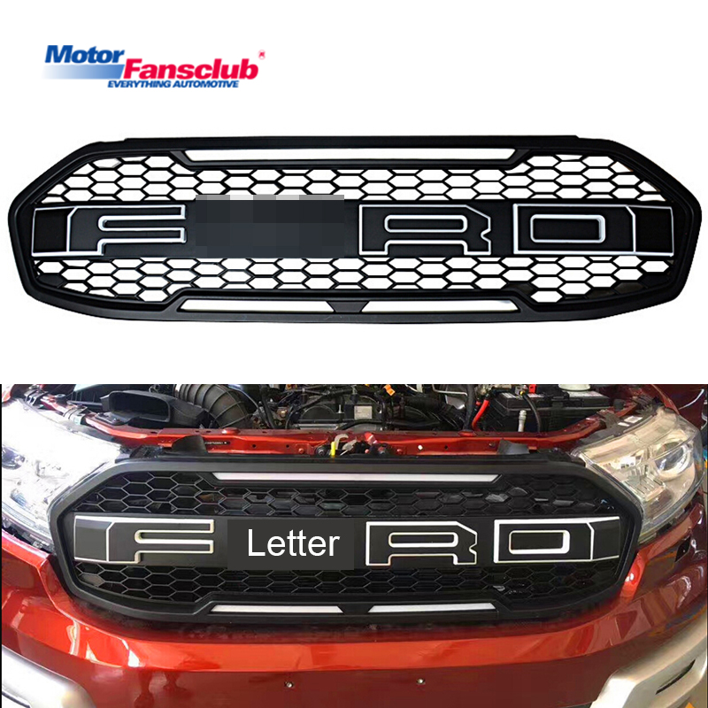 Car Racing Grille For Ford Everest Endeavour 2015-2017 Raptor Grill With LED Badge Mesh Black Front Bumper Cover Modify Radiator front radiator centre grille panel for ford for focus mk3 st line radiator grill bumper honeycomb mesh cover moulding part