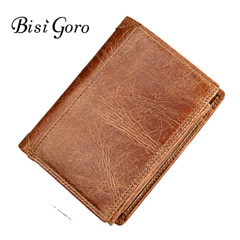 Bisi Goro 2018 Men and Women Short Wallet Genuine Cow Leather High Quality Cowhide Purse Wallet Clutch Zipper Coin Card Holder