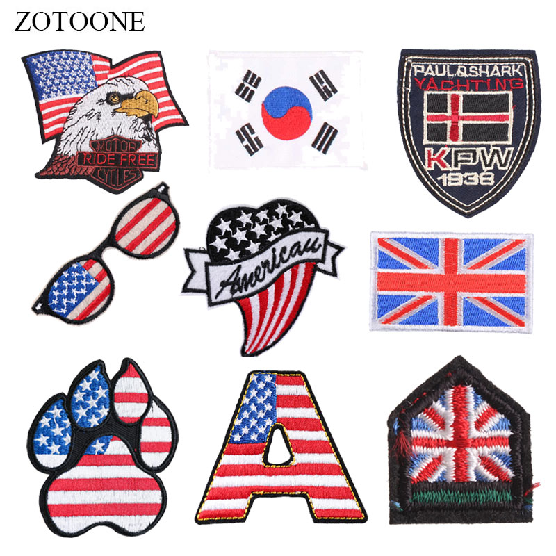 ZOTOONE Badge Patches National Flag Stickers Diy Iron on Clothes Heat Transfer Applique Embroidered Applications Cloth Fabric G