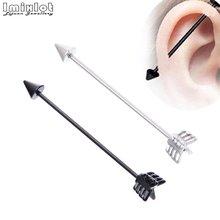 2 adet siyah gümüş renk 1.2*35mm başak ok 16G uzun endüstriyel halter çubukları Piercing vücut kulak piercing takı