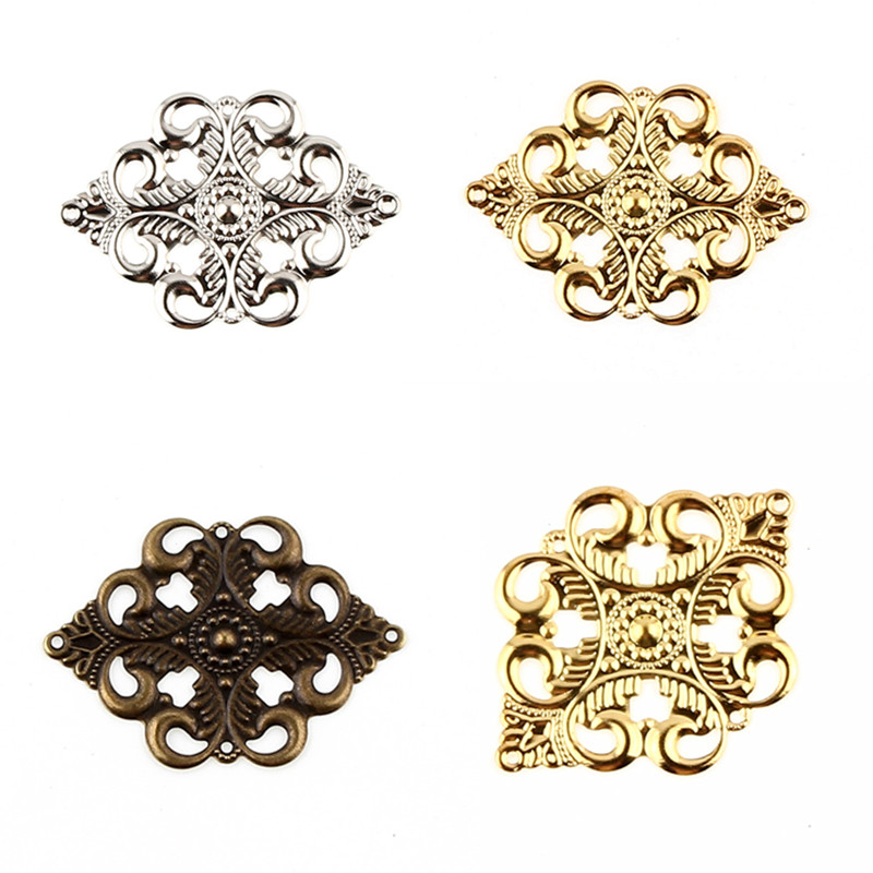 30Pcs Filigree Wraps Flower Connectors Metal Crafts Connector 42x30mm For Jewelry Making DIY Accessories Charm Pendant