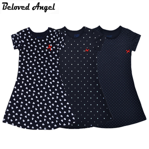 2018 Girls Dress 100% Cotton Summer Print Teenagers Dresses for Girls Designer Princess Party Dress Baby Kids Party Wear 1-13Y(China)