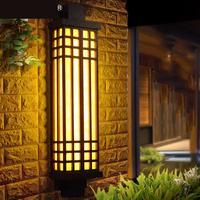 Китайские антикварные черный Mimetic Мрамор открытый настенная Люстра для особняка открытый двор для опор ворот входная дверь передние настен