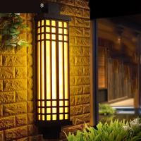 Chinese antique black Mimetic Marble Outdoor Wall Lamp Villa Outdoor Courtyard Gate Pillar Entrance Door Front Wall Lights