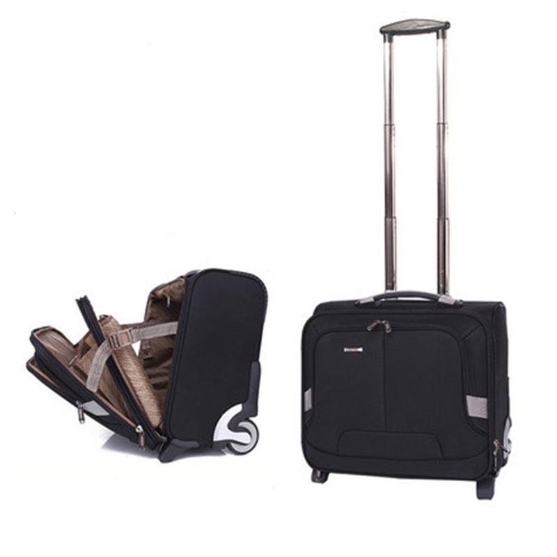 Beasumore Multifunction Business Rolling Luggage Casters 18 Inch Carry On Trolley Travel Bag Suitcase Wheels Laptop