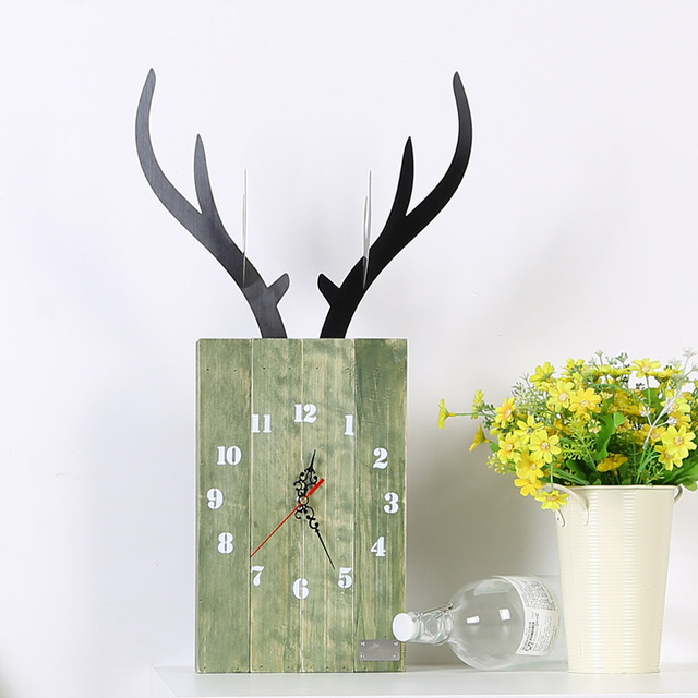 Modern Design Wall Clock For Home Decoration Vintage Wood Wall Clock Retro Europe Style Wild Animal Elk Nordic Deer CW001M