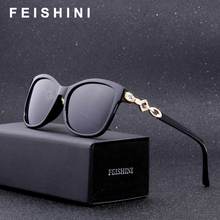 FEISHINI Fashion Rhinestone Glasses Frame Mujer Oculos Feminino Vintage High Quality Classic Beautiful Square Sunglasses Women