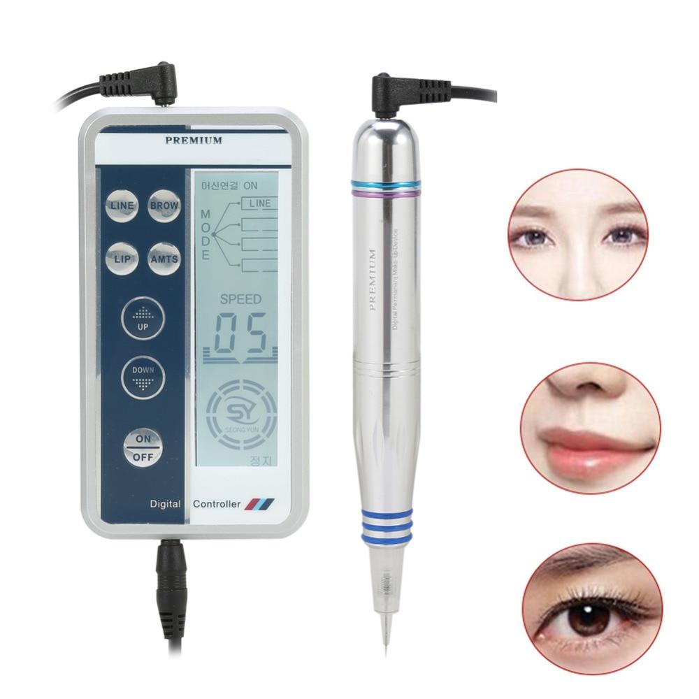 Oversea Permanent Tattoo Makeup Digital Pen Pro Eyebrow Lip Eyeliner Tattoo Pen Machine Set Microblading Gun