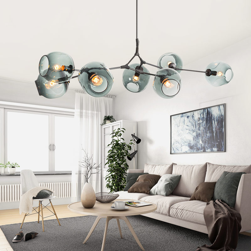 Modern Chandelier Light 3/5/6/7/8/9/10/11 Light Adjustable Chandelier Pendant, Matte Gold With Clear Glass Shade,Pendant Lights