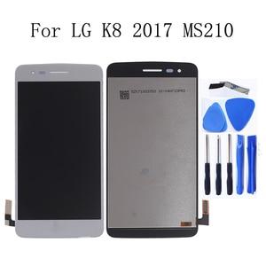 Image 1 - 5.0 inç Orijinal LG K8 2017 Aristo M210 MS210 US215 M200N dokunmatik LCD ekran Ekran Çerçeve ile tamir kiti Değiştirme + araçları