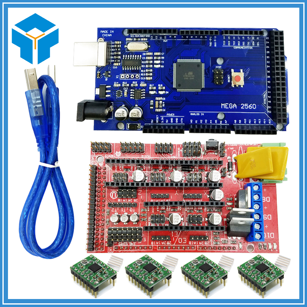 3D Printer kit Reprap Mendel Mega 2560 R3 + 1pcs RAMPS 1.4 Controller + 4pcs A4988 Stepper Driver Module