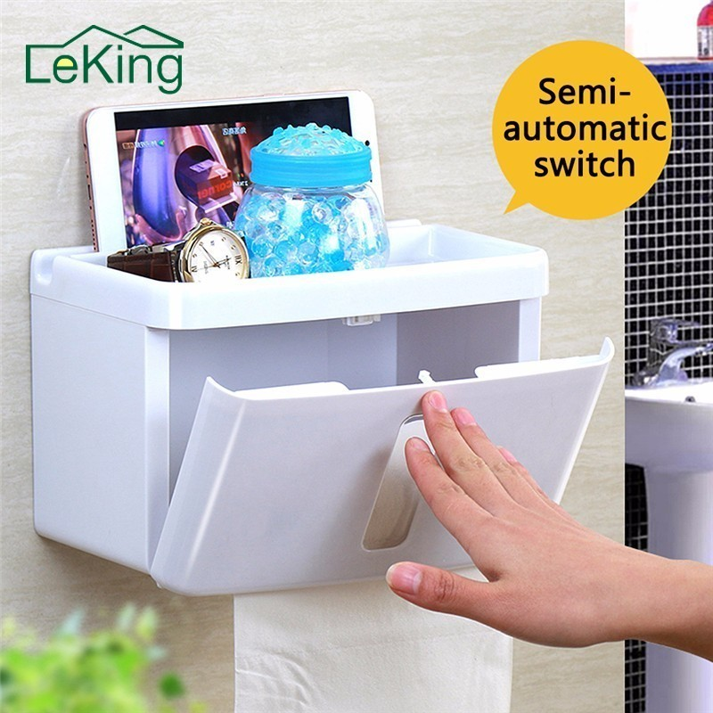 LeKing Plastic Waterproof Paper Box Tissue Mobile Phone Holder Household Bathroom Kitchen Storage Rack Box Container partol removable car tissue box car sun visor tissue paper holder cartoon auto seat back armrest hanging paper napkin container