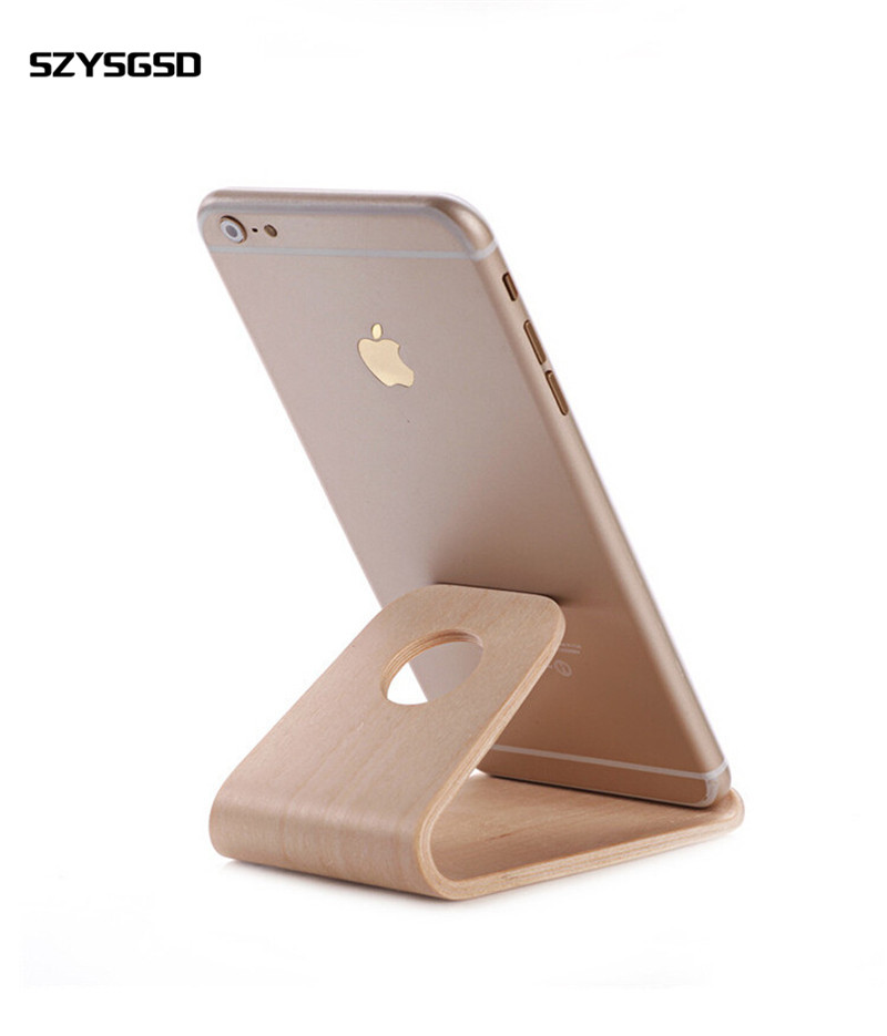 SZYSGSD Universal Stand Mount For Your Phone For Iphone 8 7 Plus 6 Wooden Holder For Samsung Support Mobile Bracket Accessories