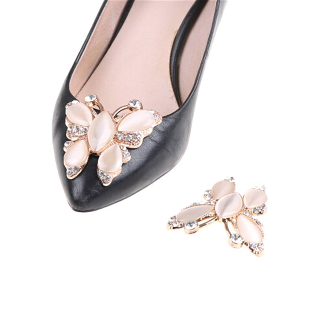 1PC Rhinestone Butterfly Shape Clip For Women Shoes Heels Retro Crystal Clip For Bag Dress Hat Shoes Accessories Decorations retro butterfly pattern skater dress