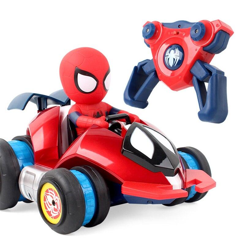 Nouveau enfants Spiderman dérive RC voiture jouet télécommande électrique jouets voiture mignon Spiderman dessin animé cascadeur voiture jouet garçon fille cadeau
