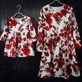 Бренд белый с красная роза хлопок дети платье девушки длинные pleat юбка детская одежда мать дочь юбки мама и девушка платья
