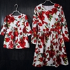Brand White With Red Rose Cotton Kids Dress Girl Long Pleat Skirt Children Clothes Mother Daughter