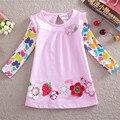 Meninas vestem roupas das meninas bordados de flores vestido de princesa nova crianças roupas 2-6 anos 100% algodão crianças vestidos para meninas f2275