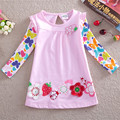 girls dress girls clothes embroidery flower princess dress nova kids clothing 2-6 years 100% cotton kids dresses for girls F2275