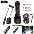 T6 L2 Tactical led flashlight cree XML T6  XM-L2 torch led 1 mode 5 mode Waterproof flash light 18650 Rechargeable battery