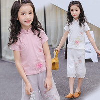 Chinese Style Cheongsam Girls Clothing Sets Solid Short Sleeve T Shirt Lantern Pants 2Pcs Suits Kids