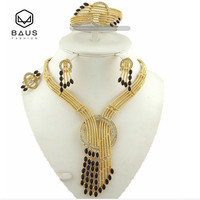 Free Shipping African Nigerian Bead Dubai Engagement Wedding Jewelry Sets Necklace Ring Bracelet Gold Plated Rhinestone