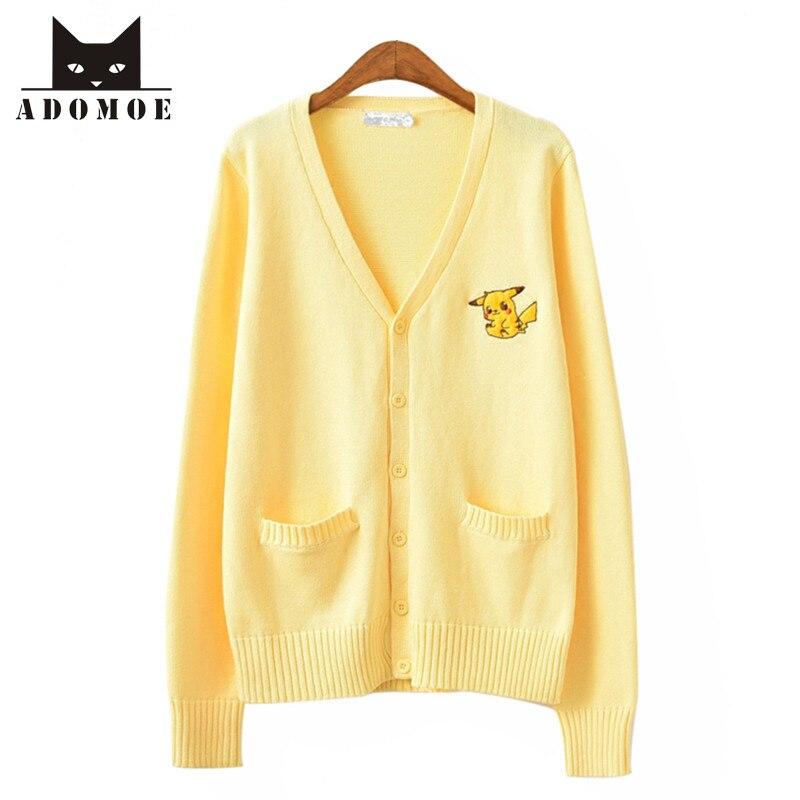 Aodmoe de Otoño de las mujeres amarillo fresco estilo Japón lindo Pikachu Comics suéter de punto de dibujos animados de Corea JK dulces niñas Casual chaquetas