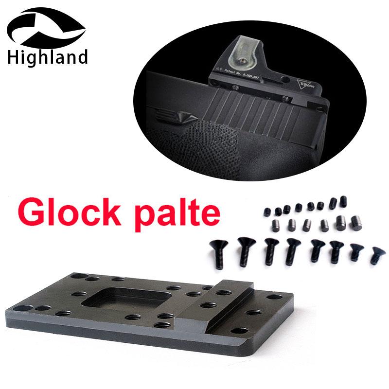 Hunting Universal Red Dot Sight Scope Handgun Accessories Steel Glock Rear Sight Plate Base Mount