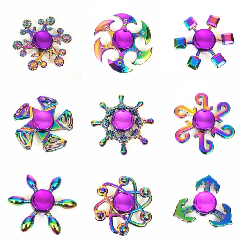 Sale Rainbow Hand Spinner Finger Fidget Spinner Eye Electroplate Hybrid Bearing Zilver Zinc Alloy Metal EDC Hand Tri Spiner SZJD