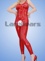 Latex Open Crotch Catsuit Sexy Lingerie for Woman Sleeveless Latex Bodysuit Fetish Costume for Sex Erotic Lingeries