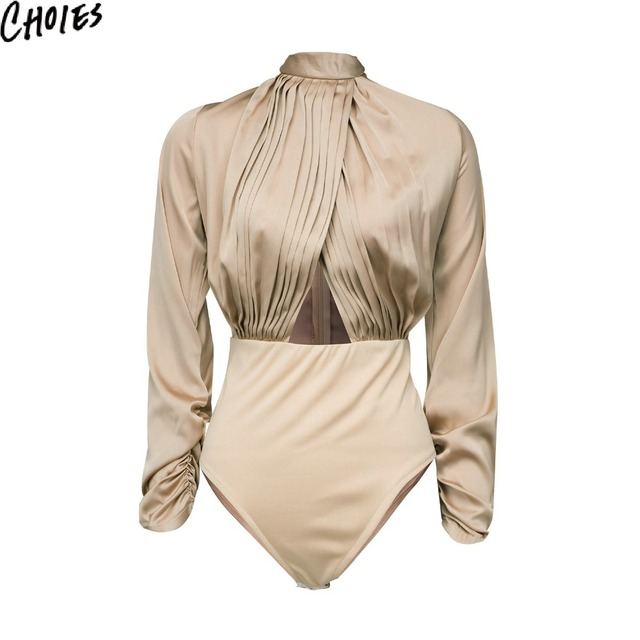 Women Satin Bodysuit 2 Colors Sexy Cut Out Ruched Wrap Front Long Sleeve Silky Slim Bodysuits 2017 New Zip Back Elegant Clothing