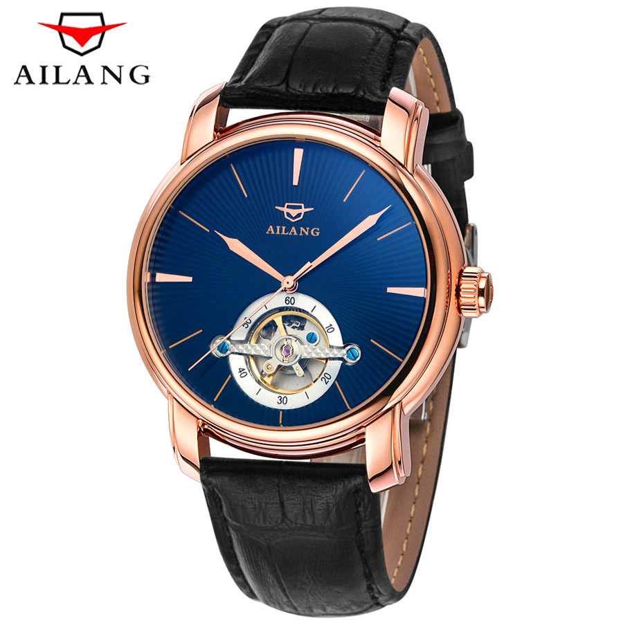 AILANG Tourbillon Mechanical Watch Mens Skeleton Black Gold Automatic Watch Men Genuine Leather Waterproof Mecanique Relogio 2018 ailang sapphire automatic mechanical watch mens top brand luxury waterproof brown genuine leather watch relogio masculine