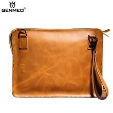GENMEO New Natrual Leather Men Handbag Vintage Genuine Leather Crossbody Shoulder Bag for Ipad Male Messenger Bag Bolsa Feminina
