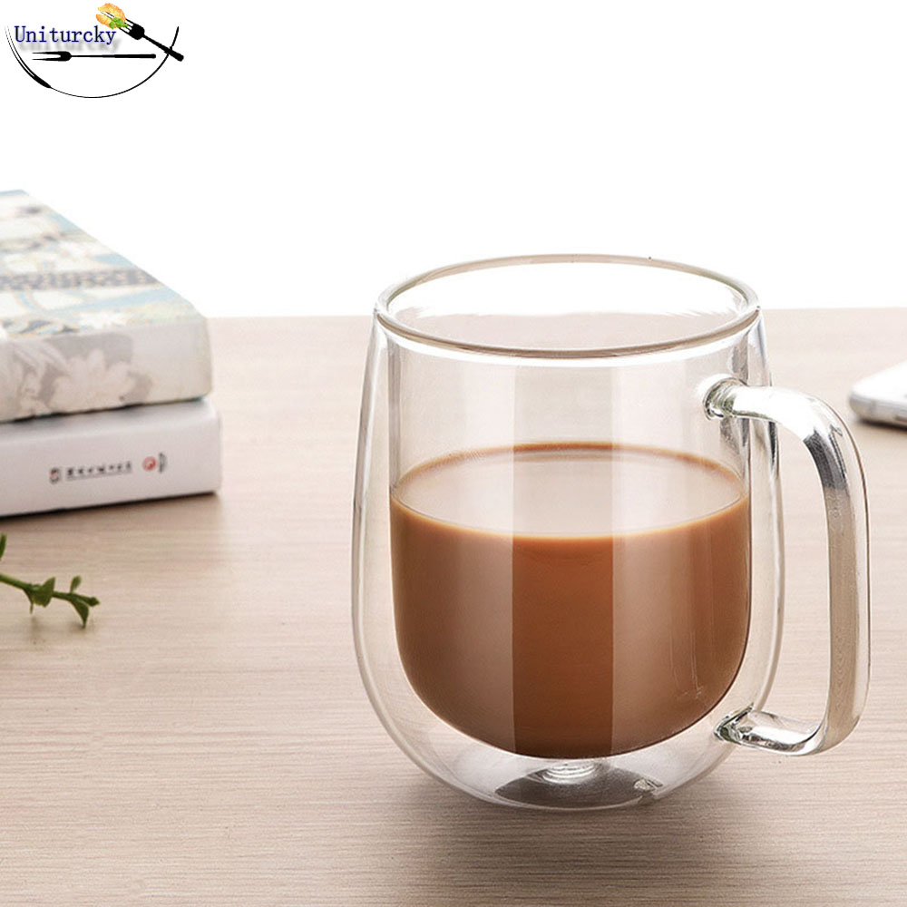 250ml Chic Double Wall Glass Creative coffee cup of insulated double belly glass custom made ...