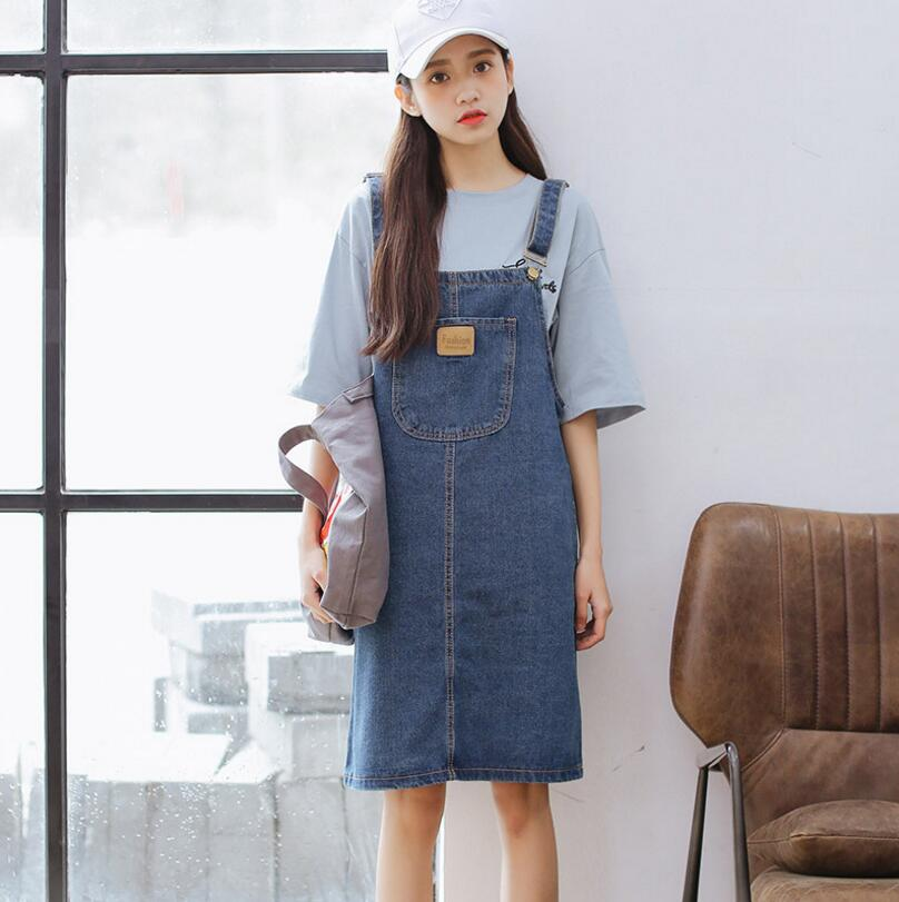 2018 New Fashion Women Denim Dress Casual Sundress Spaghetti Strap  Suspender Dress Vestidos Plus Size 3xl de1b2de91108